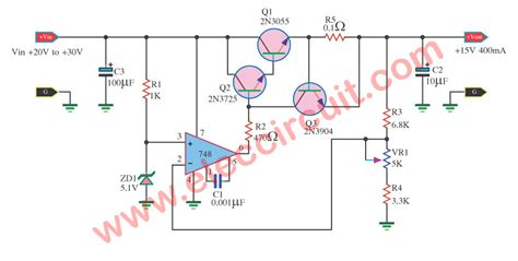 Ic Power L7915cv Ic Regulator regulator 15v 400ma by 748 and 2n3055 electronic projects circuits