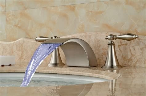 led color changing waterfall spout bathroom faucet brushed