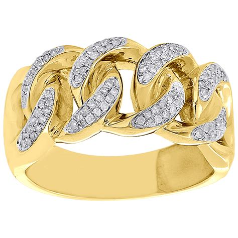 White 0 43 Ct Silver Ring 10k yellow gold mens miami cuban link pave set