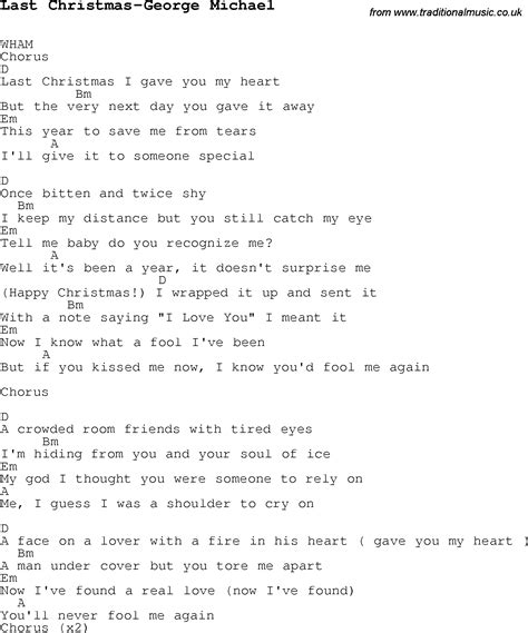 printable lyrics last christmas wham christmas songs and carols lyrics with chords for guitar