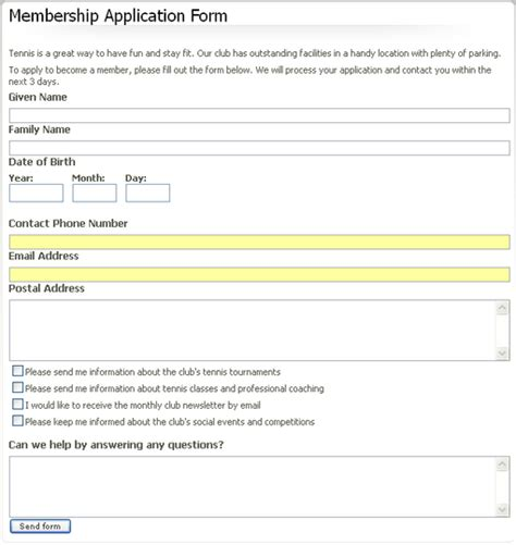 social club membership application form template how to create ez publish forms the ez publish community