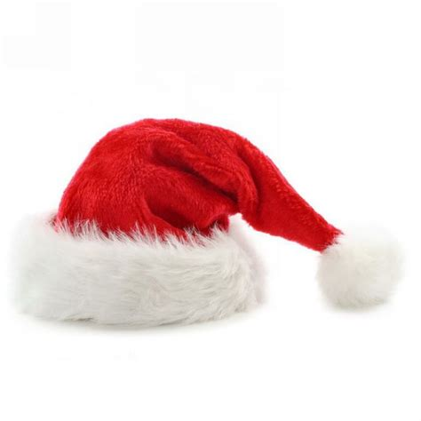 red white faux fur deluxe plush santa christmas hat