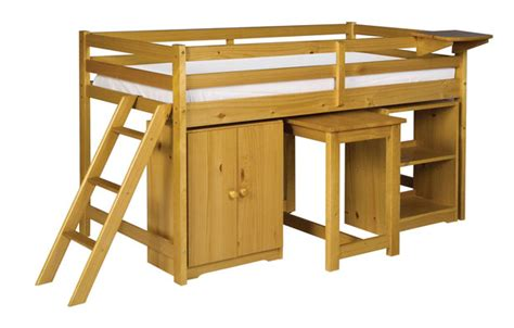cabin bed with cupboard bookcase desk shelf clearance