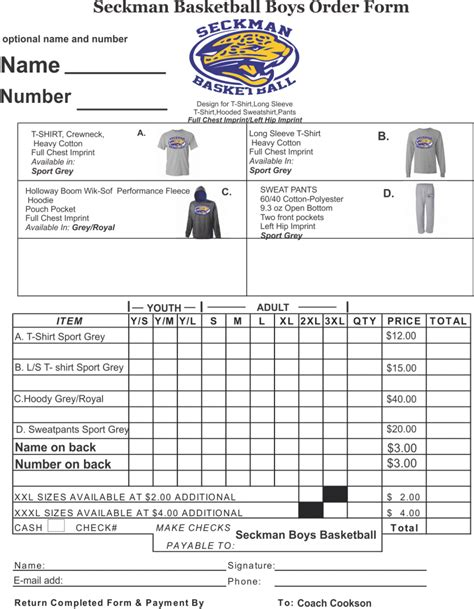 printable apparel order forms seckman team home seckman jaguars sports