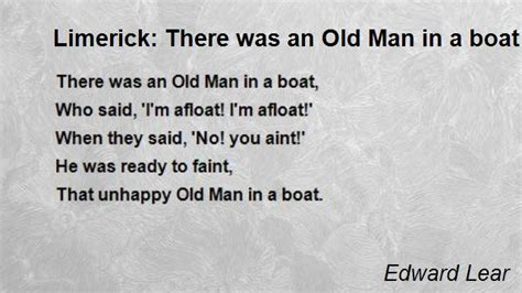 old boat poem limerick there was an old man in a boat poem by edward