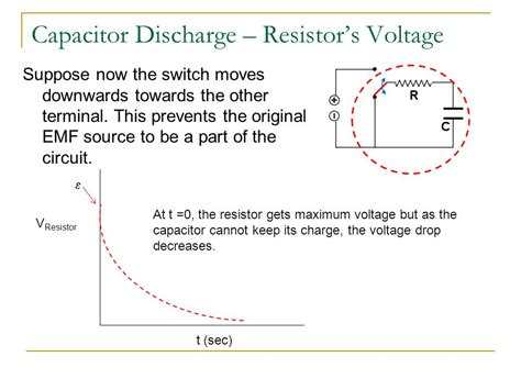 capacitor discharge through a resistor rc resistor capacitor circuits ppt