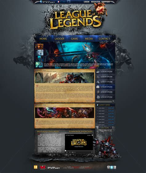 League Of Legend Website By Abzo On Deviantart League Website Template