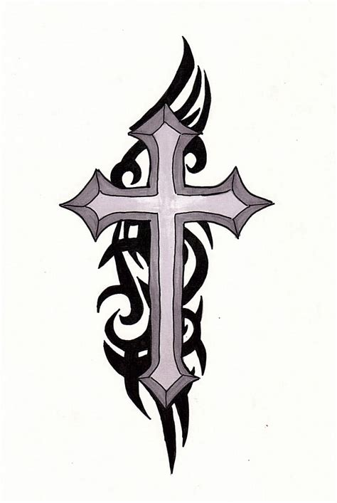 tribal ink tattoos black ink tribal cross design