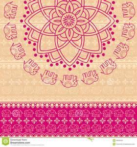 pink henna elephant mandala background stock vector