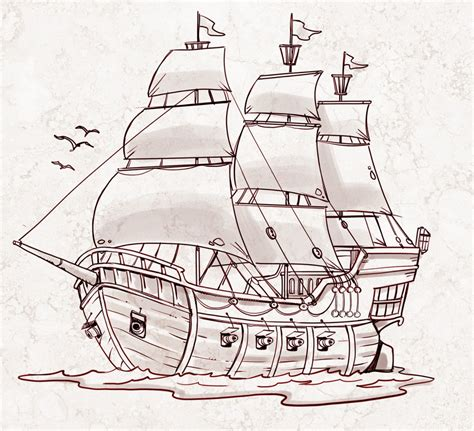 pirate ship a sketch for a how to simple pirate ship drawing drawing art gallery