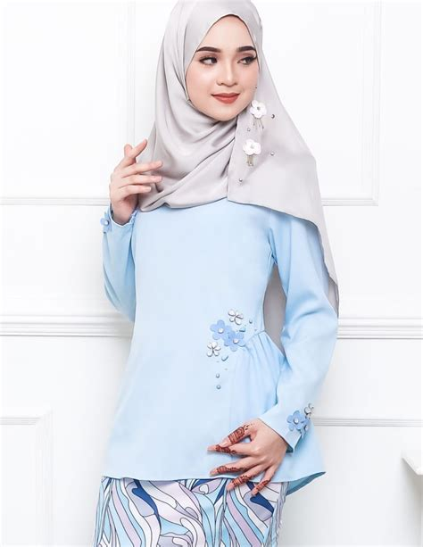 Baju Gamis Warna Baby Blue baju kurung moden pandora pucci baby blue lovelysuri
