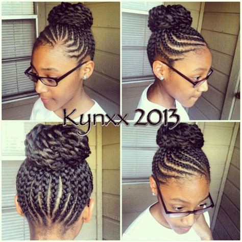 twisted bun hairstyle on american i love cornrow bun cornrows pinterest braid buns