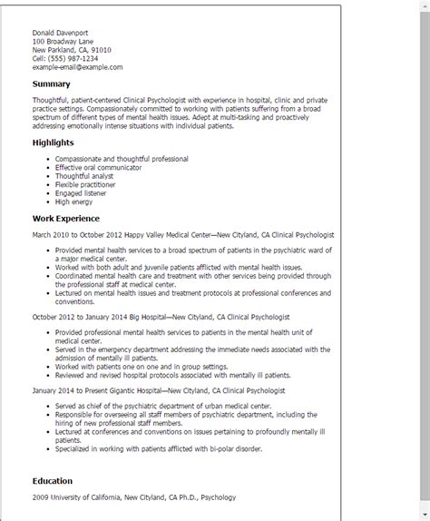 Health Care Resume Sample by Professional Clinical Psychologist Templates To Showcase