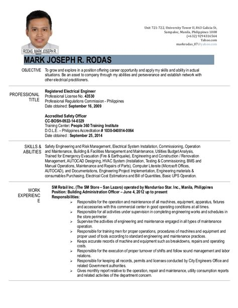 best resume format 2015 philippines resume engr joseph r rodas april 2015 1
