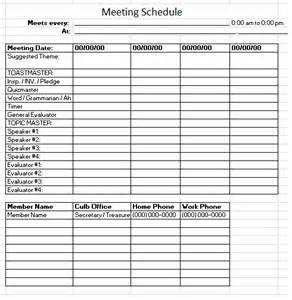 monthly meeting schedule template design schedule sle images