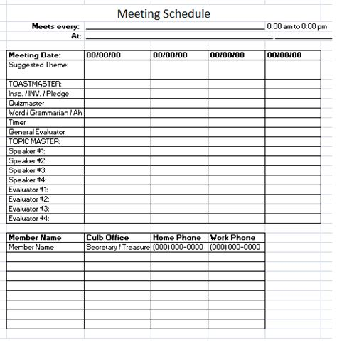 meeting calendar template schedule templates free printable ms word ms excel