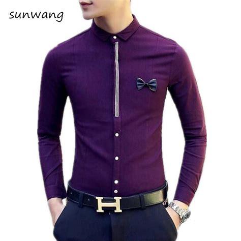 Bedcover Polos No 3 Single Size Rosewell Ungu Muda Ter Murah 2017 new fashion bow designer purple mens casual shirts wedding dress slim fit shirt