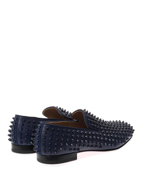 spiked loafers for christian louboutin rollerboy studded loafers in blue for