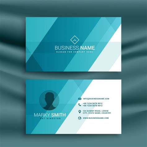 Id Card Template Freepik by Business Card Blue Vector Free