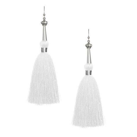 Tassel White white silk tassel earrings with silver cap tassel jewelry