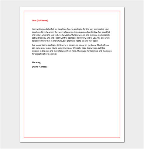 Apology Letter To S Parents Apology Letter To 5 Useful Sles Exles Formats