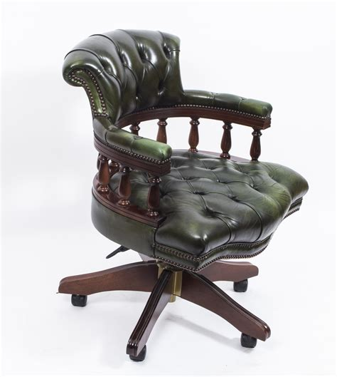 Leather Captains Chair by Made Leather Captains Desk Chair Green