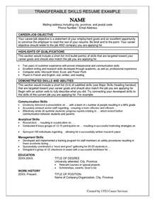 Resume Transferable Skills Exles by Transferable Skills List For Resumes Resume Exles 2017