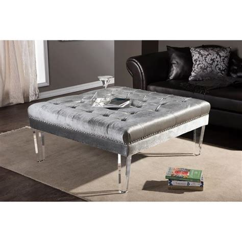 ottoman with acrylic legs x bench with nail heads
