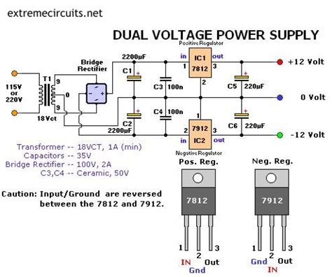 dual voltage 12v power supply circuit diagram world