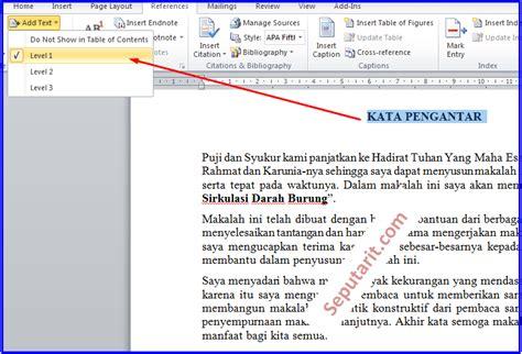 cara membuat daftar isi makalah di word 2007 cara membuat daftar isi makalah di ms word cara cepat