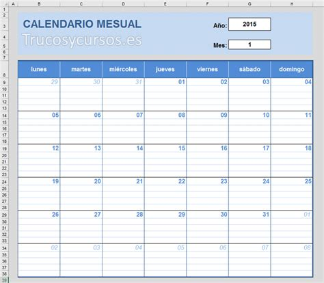 crear calendario en excel crear un calendario mensual en excel para notas del mes