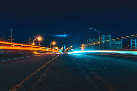 Free picture: asphalt, buildings, light, city, night, road