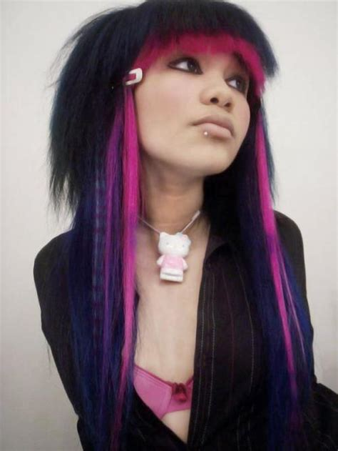 dyed emo hairstyles emo purple hair dye color di candia fashion