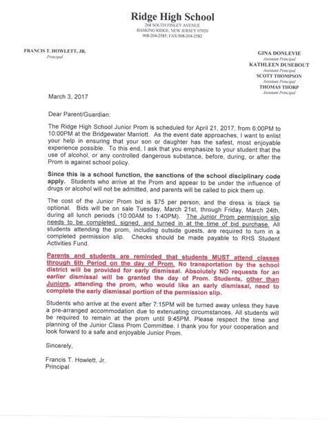Parent Letter High School fresh letter to school principal from parent cover