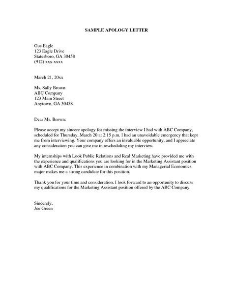 Exle Of Apology Letter Format Letter Of Apology Format Best Template Collection