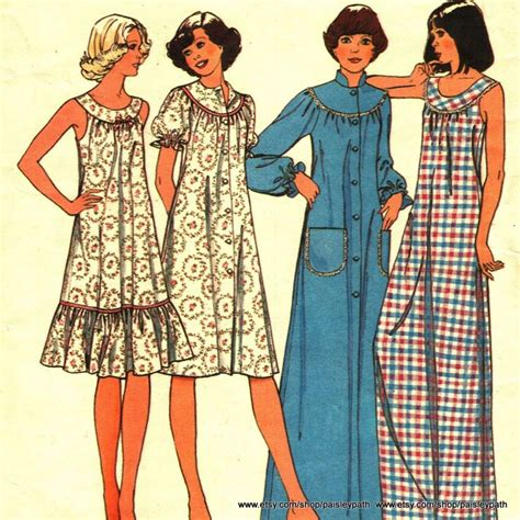Pattern Night Dress   vintage 1980s sewing pattern night dress and house coat