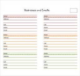 address book template sle address book 9 documents in pdf word psd