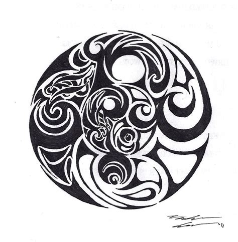 yin yang tattoo designs black tribal yin yang design