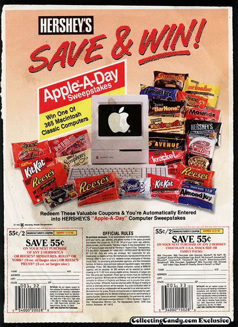 Hershey Sweepstakes - hershey s 1992 apple a day sweepstakes collectingcandy com