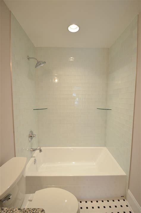 Bathroom Tub Shower Combo Oversized Tub Shower Combo With Light Blue Tile Shower Shelves And Large Rainfall Shower