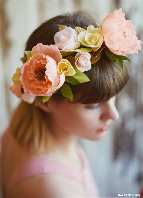 How To Make A Flower Crown With Paper - pretty crepe paper flower crown lia griffith