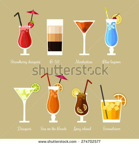 manhattan drink illustration vector illustration of eight popular alcoholic cocktails