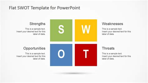 Flat Swot Analysis Design For Powerpoint Slidemodel Powerpoint Swot Template Free