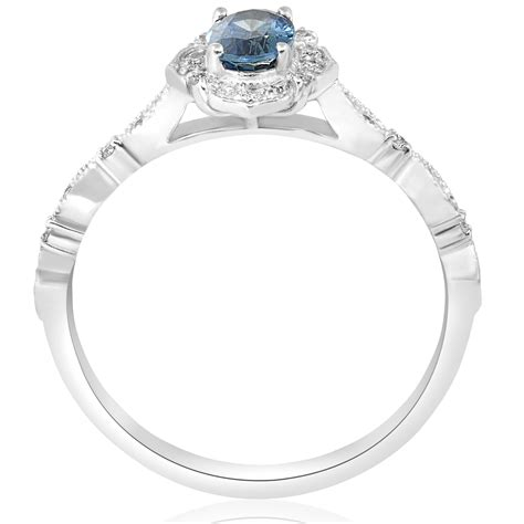 blue sapphire vintage halo engagement 3 4ct ring