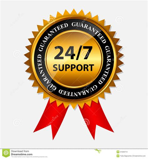 eps format support vector 24 7 support gold sign label template stock images