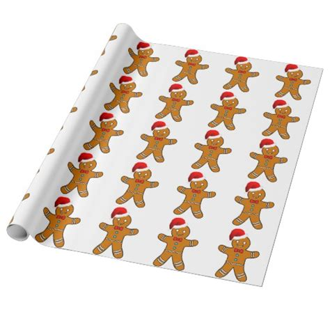 gingerbread man at christmas gift wrapping paper zazzle