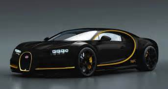 bugatti black and bugatti chiron rendered in black and gold