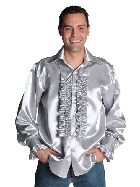 70 s mens satin shirt silver 205201 91 fancy dress