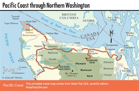 road map of northern usa pacific coast route through washington state road trip usa