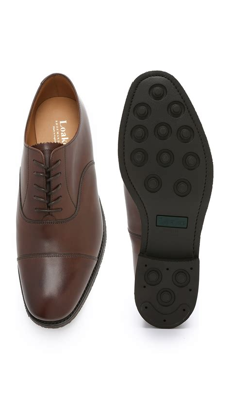 cap toe oxford shoes loake scafell cap toe oxford shoes in brown for lyst